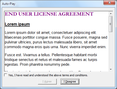 AUTORUNINF – End User License Agreement Template